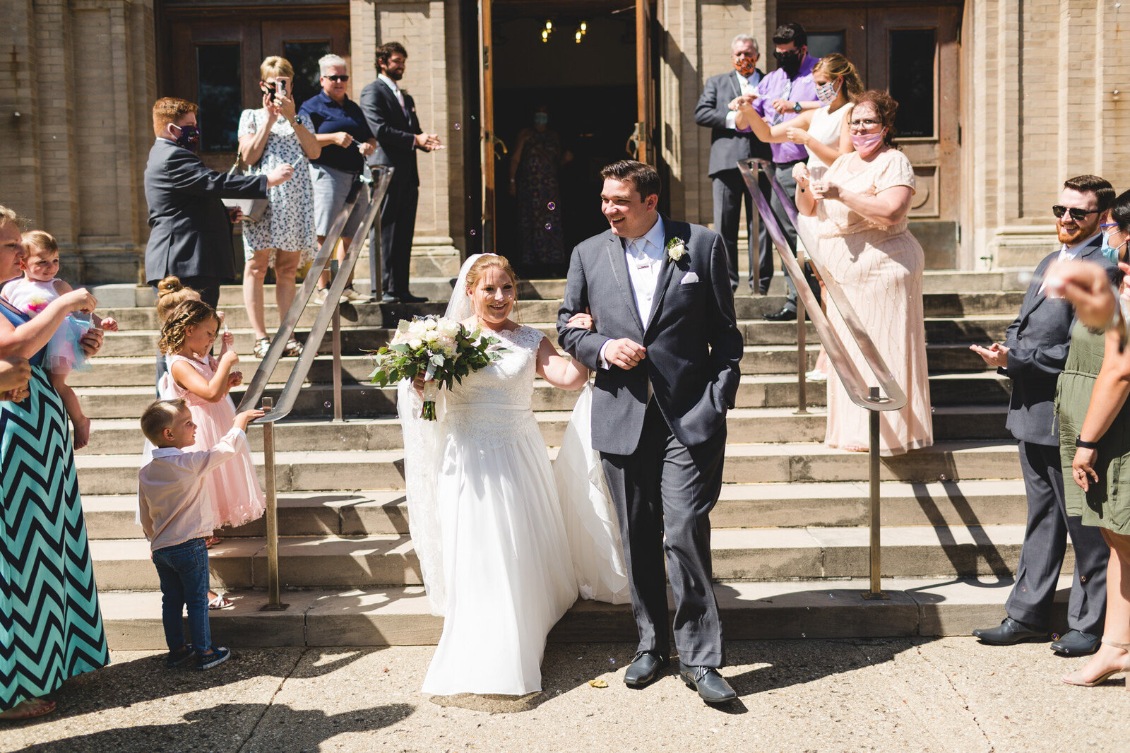 old church bubble send off bride and groom