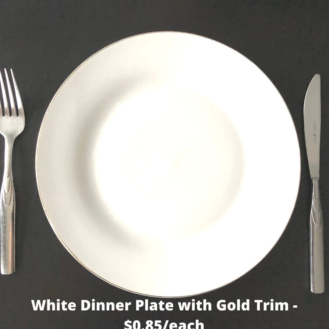 white dinner gold trim