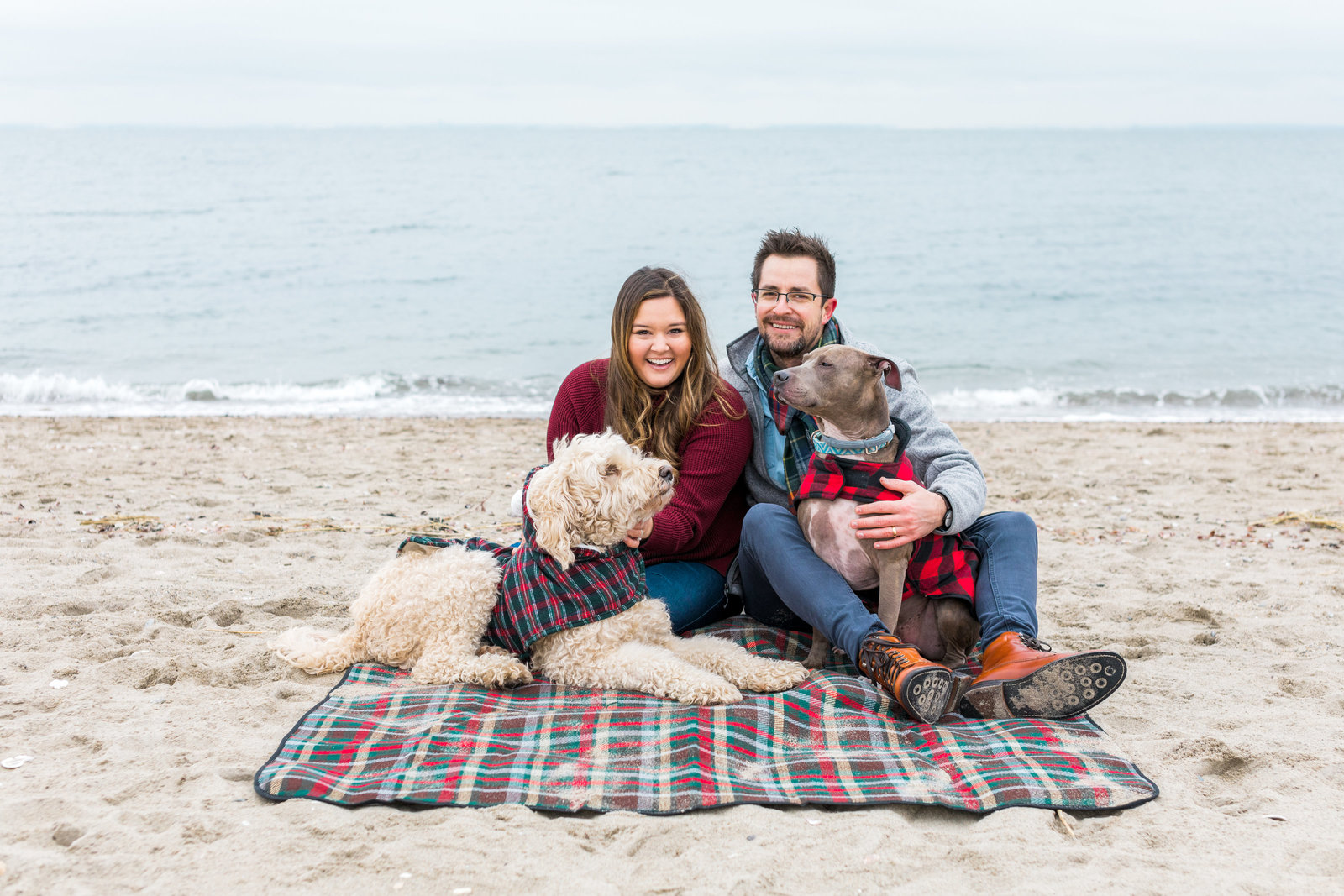 Beachfront family session with a couple and their 2 dogs