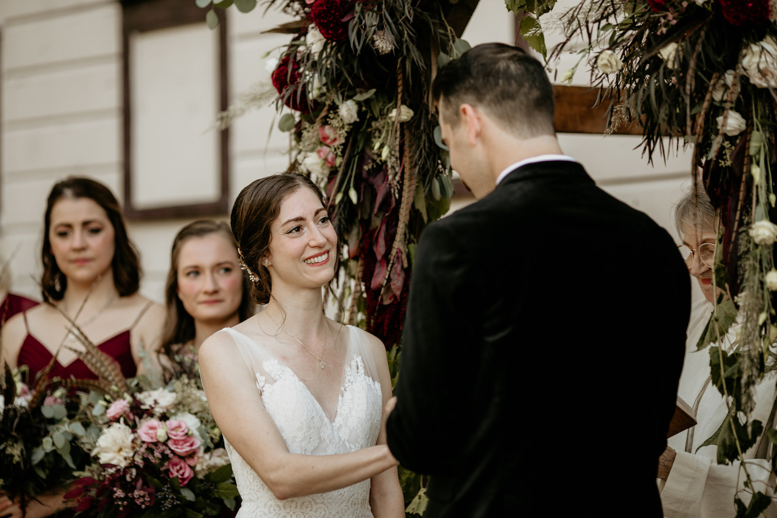 Bride and groom exchange vows during their ceremony in Catskill, New York.