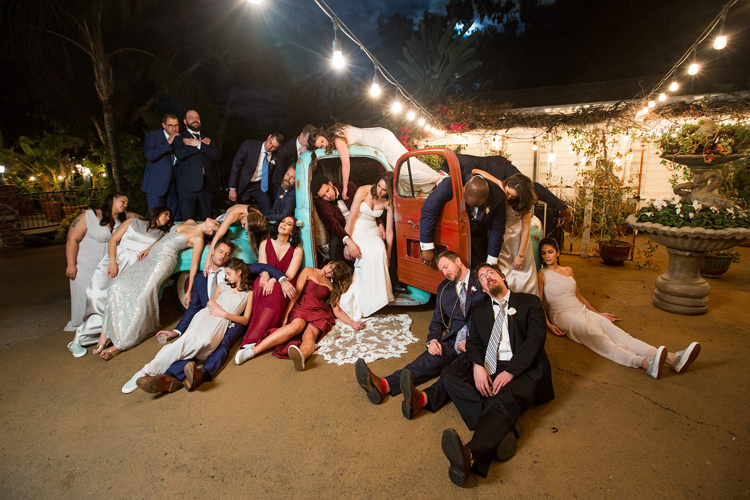 Funny Drunk Wedding Party Photo