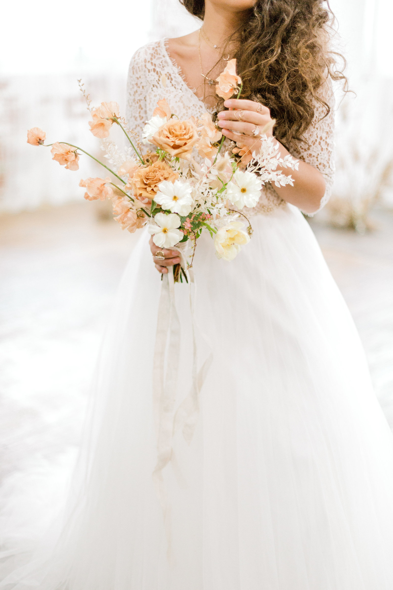 Neutral floral inspired styled bridal studio shoot fox and finch studios bethlehem pennylvania wedding photographer (54 of 155)