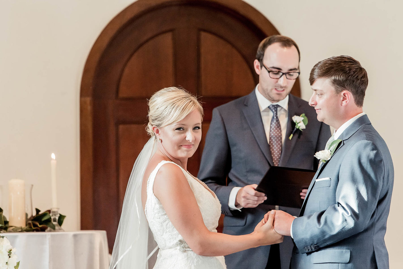 Bride and groom exchange vows, Coleman Hall, Mt Pleasant, South Carolina