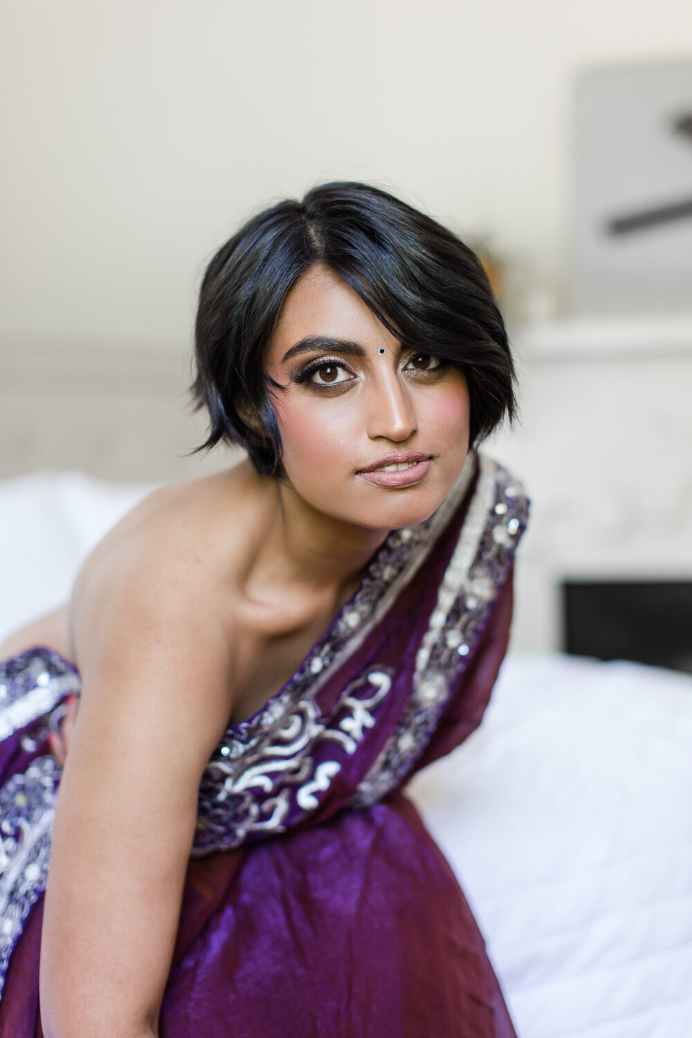 indian saree boudoir beauty portrait