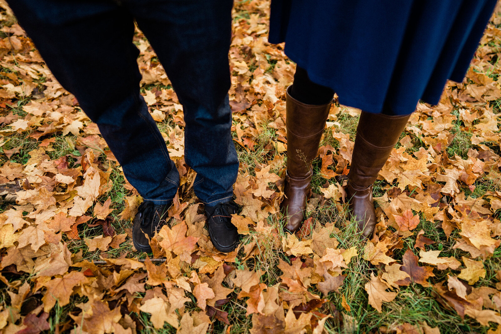 Tons of fall leaves and beautiful fall color at Rockwood Farm, top location for engagement photos with fall color