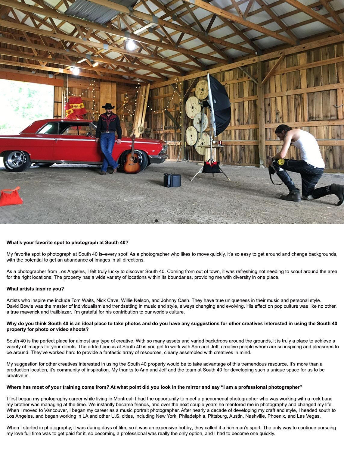 Interview featuring LA Photographer behind the scenes photoshoot at South 40 Mark Maryanovich on knee in foreground looking at back of camera country musician standing in front of red vintage car lights angled at him text beneath photo page 5