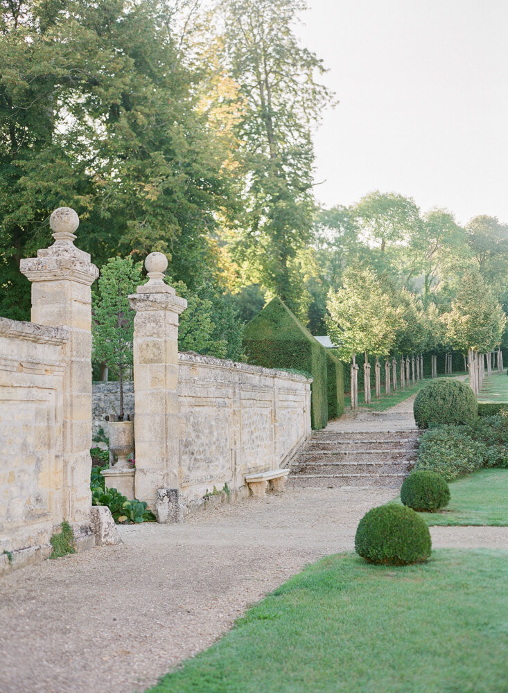 Steps with gravel on a French estate