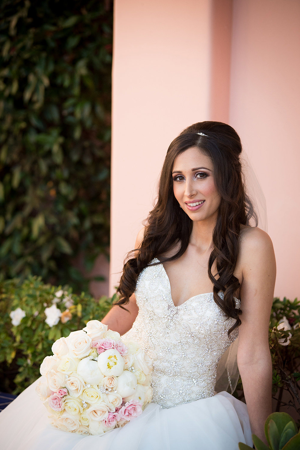 Beautiful bridal portrait at La Valencia Hotel