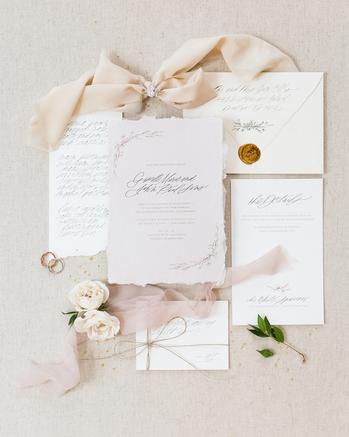 Sarah Ann Design - Wedding Invitation and Calligraphy - White Sparrow - Ballet Inspired - 00001
