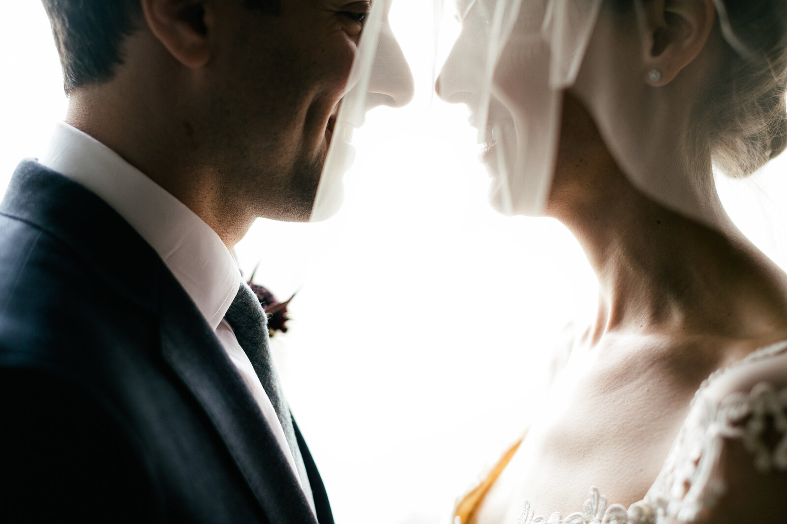bride and groom faces close together