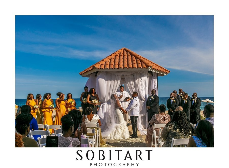 Beach wedding at gazebo for ceremony  ready for ceremony at Dream Resorts Los Cabos Mexico photo by Sobitart Photography