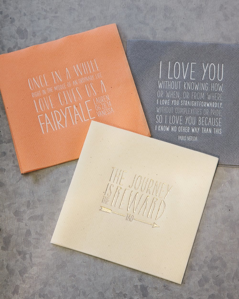 Custom wedding cocktail napkins with quotes