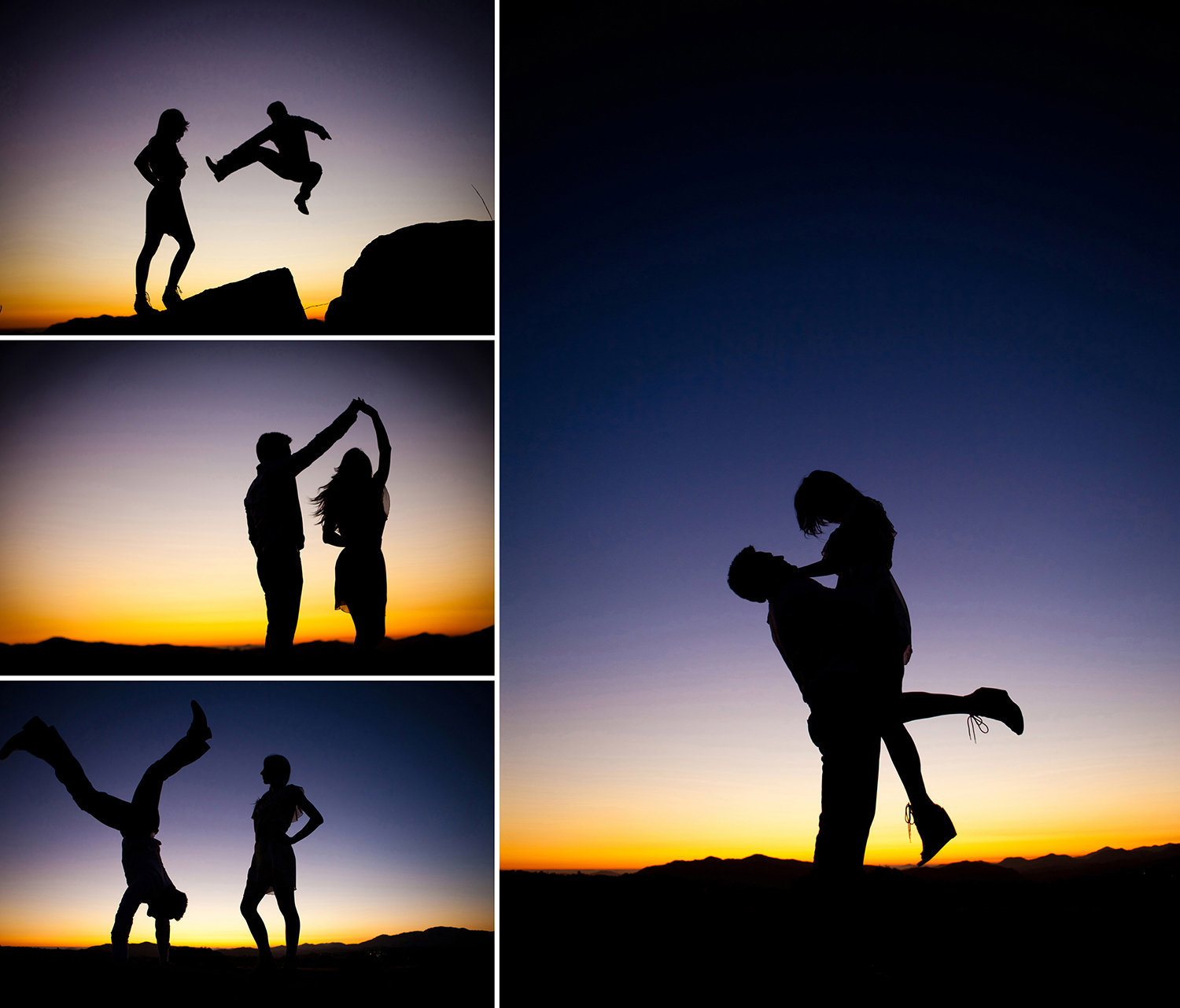 De Mar engagement photos beautiful sunset silhouette
