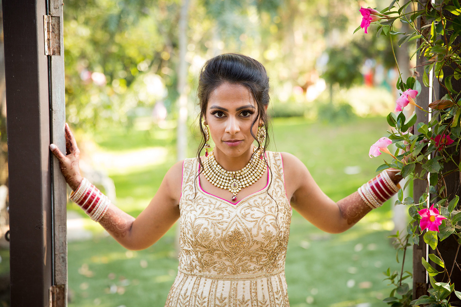 Beautiful Indian bride strikes a pose at Twin Oaks Garden Estate
