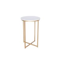 Mid-century inspired. Faux marble/gold end table.