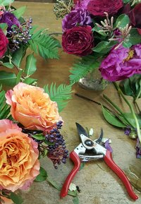 Flowers, shears, and vases on a workbench.