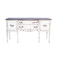 Distressed cream buffet with dark stained top.