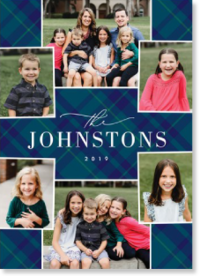 blue plaid holiday card with photos