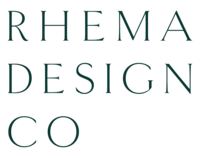 Primary logo for Rhema Design Co, a branding studio for intentional people.