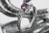 Amethyst engagement ring with a white gold band.  Off the Film Photography creates a fun and stress free experience.  We are located in Cincinnati Ohio.