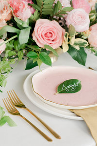 Sweet modern leaf place card with name in calligraphy by Lewes Lettering Co.