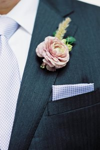 close up of pocket square at wedding