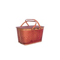 Medium vintage red-orange picnic basket.