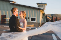 Bride and Groom photo at Airfield estates winery