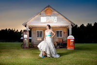 bridal portrat at the old gas station in hidden acres in marion, south carolina