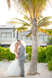 Azul Beach Resort wedding under palm tree