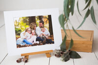 Matted print of a professional family portrait