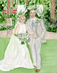 custom watercolor wedding painting