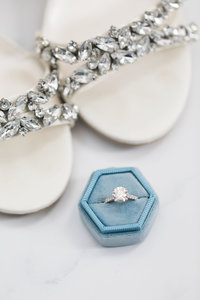 Solitaire engagement ring in blue hexagon ring box