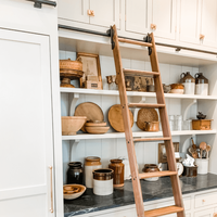 Stock 6 farmhouse kitchen shelves with ladder