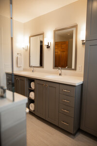 Master bathroom remodel gray cabinetry