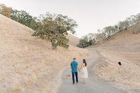 Engaged couple walk down a dirt path with dog in golden hills of Walnut Creek California