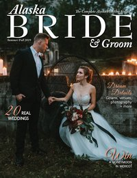 Alaska Bride and Groom Magazine Cover of couple with candles