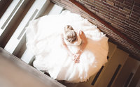 Beautiful bride in the stairs  at Newcastle Town Hall