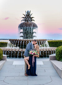 Pink skies and pineapple fountain, a Charleston SC engagement session