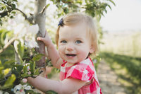 Little girl smiling in apple orchard
