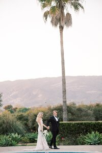 bride and groom portrait in california
