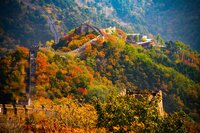 Fall on the Great Wall of China. It goes on forever through the mountains of China.