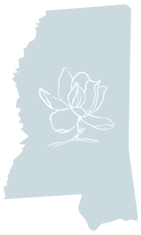 Mississippi graphic with magnolia illustration