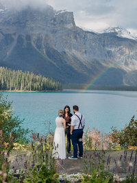 rainbow over emerald lake viewpoint elopement ceremony