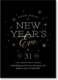black gold and silver new years invite