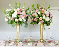 pink green and white tall reception centerpieces