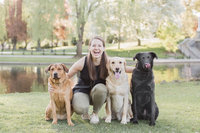photographer sitting with dogs in park