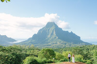 The Belvedere view in Moorea with the bride and groom, landscape wide angle view