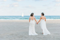 The wedding of two brides on the beach in singer island, south florida