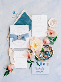 Custom Blue Velvet Deckled Wedding Invitations and Ring Box